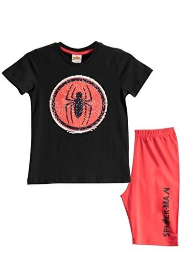 Spider-Man Spiderman Lisanslı Mavi Erkek Çocuk Bermuda Takımı Siyah